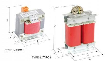 Transformadores I-Fase para uso clínico <BR>230V-230Vac</BR>